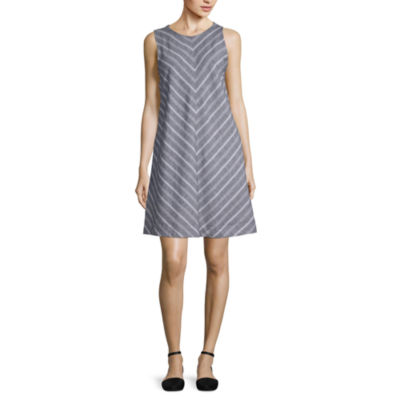 Liz Claiborne Ibiza Waves Sleeveless Striped A-Line Dress
