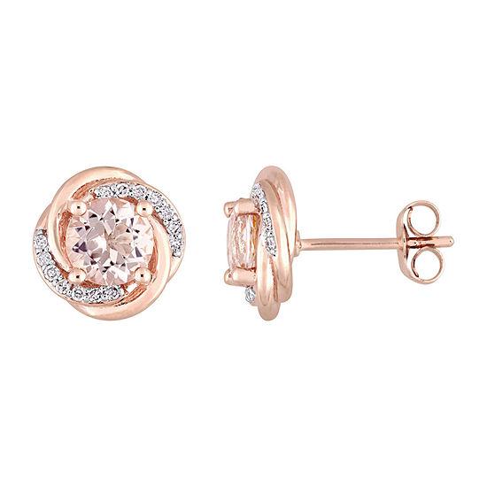 1/7 CT. T.W. Genuine Pink Morganite 10K Rose Gold 10.6mm Stud Earrings