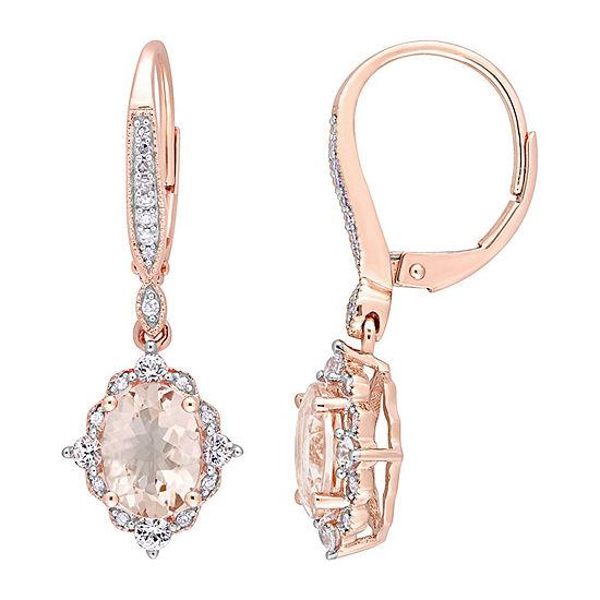 1/8 CT. T.W. Genuine Pink Morganite 10K Rose Gold Drop Earrings