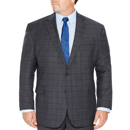Stafford Travel Stretch Charcoal Plaid Suit Separates-Big and Tall