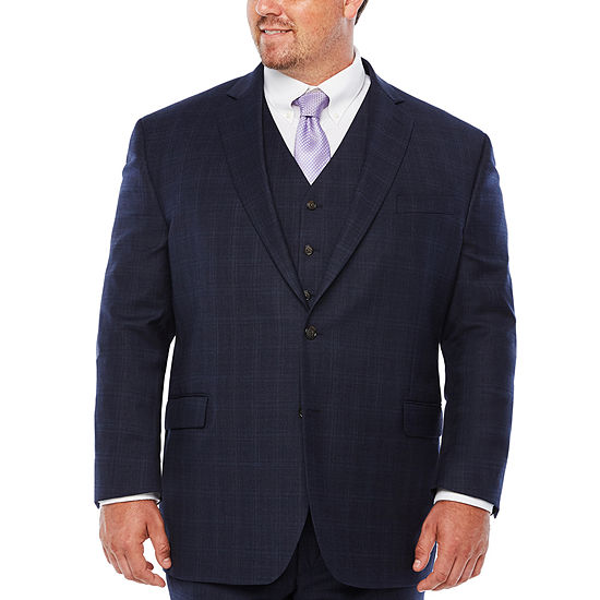 Stafford Travel Stretch Mid Blue Plaid Suit Separates-Big and Tall