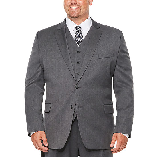 Stafford Travel Stretch Med Grey Suit Separates-Big and Tall
