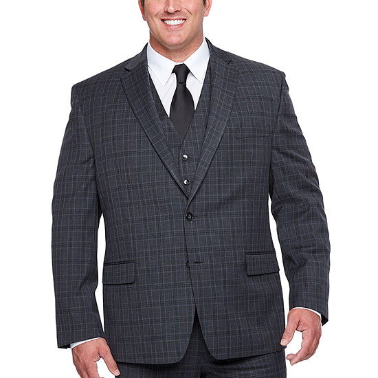 Shaquille O'Neal XLG Gray Plaid Stretch Suit Big & Tall