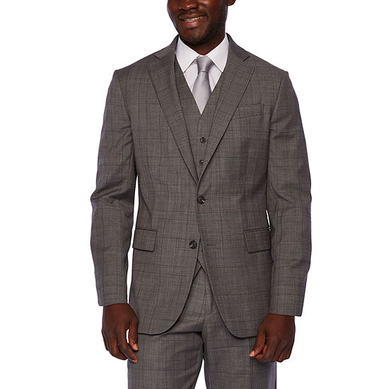 Stafford Travel Gray Glen Check Classic Fit Suit Separates
