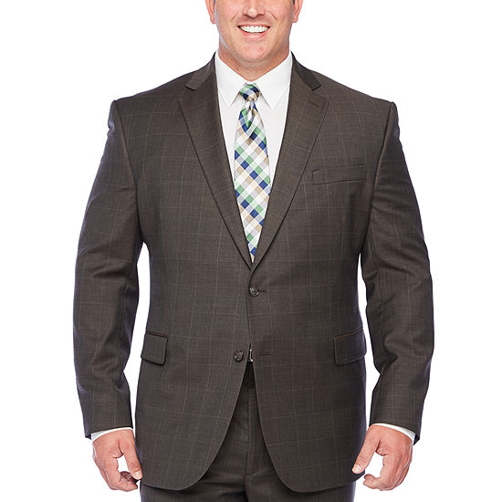Stafford Super Suit Brown Windowpane Stretch Suit Separates - Big & Tall