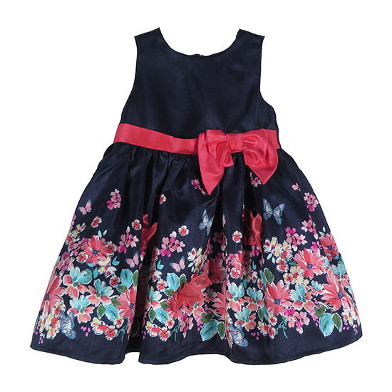 Lilt Baby Girls Sleeveless Bordered A-Line Dress