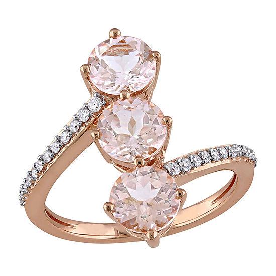 Womens 1/7 CT. T.W. Genuine Pink Morganite 14K Rose Gold Cocktail Ring