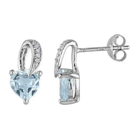 Diamond Accent Genuine Blue Aquamarine Sterling Silver 13mm Heart Stud Earrings