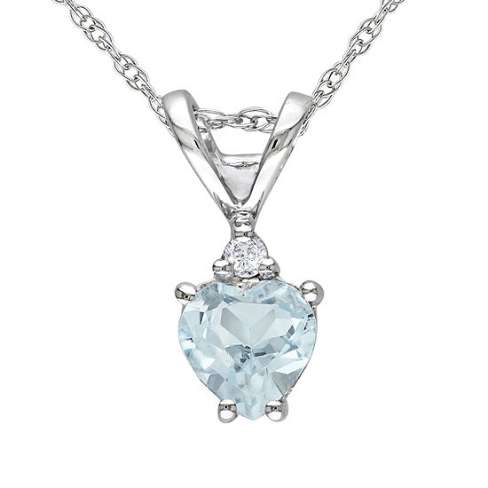 Womens Diamond Accent Genuine Blue Aquamarine 10K White Gold Heart Pendant Necklace