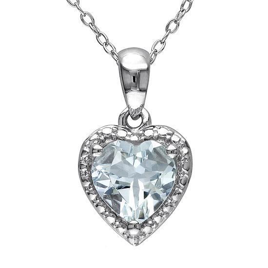 Womens Genuine Blue Aquamarine Sterling Silver Heart Pendant Necklace