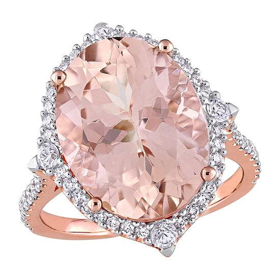 Womens 3/8 CT. T.W. Genuine Pink Morganite 14K Rose Gold Cocktail Ring