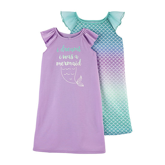 Carter's Little Kid / Big Kid Girls 2-pc. Short Sleeve Round Neck Nightgown
