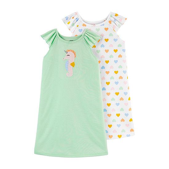 Carter's Little Kid / Big Kid Girls 2-pc. Short Sleeve Round Neck Nightgown