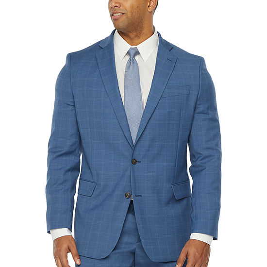 Stafford Mens Windowpane Classic Fit Suit Jacket-Big and Tall