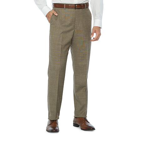 60s – 70s Mens Bell Bottom Jeans, Flares, Disco Pants Stafford Super Tan Tic Classic Fit Flat Front Stretch Suit Pants 36 30 Brown $64.99 AT vintagedancer.com