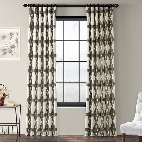 Exclusive Fabrics & Furnishing Sorong 100% Cotton Energy Saving Light-Filtering Rod-Pocket/Back-Tab Single Curtain Panel