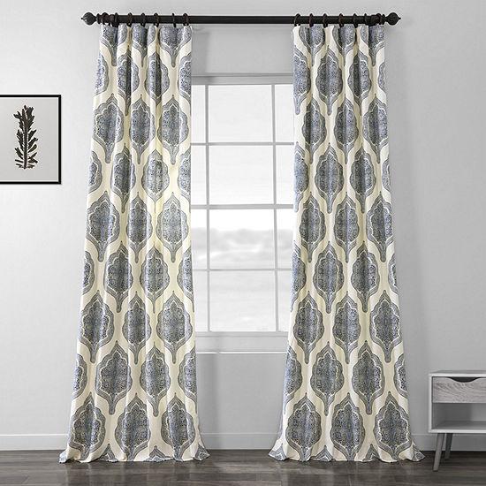 Exclusive Fabrics & Furnishing Arabesque 100% Cotton Energy Saving Light-Filtering Rod-Pocket/Back-Tab Single Curtain Panel