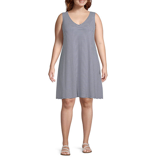 St. John's Bay-Plus Sleeveless Striped Swing Dresses