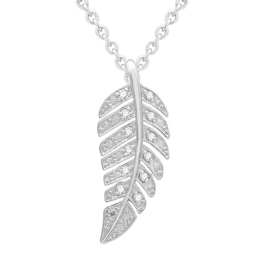 Silver Treasures 1/10 Ct. T.W. Diamond Sterling Silver 18 Inch Cable Pendant Necklace