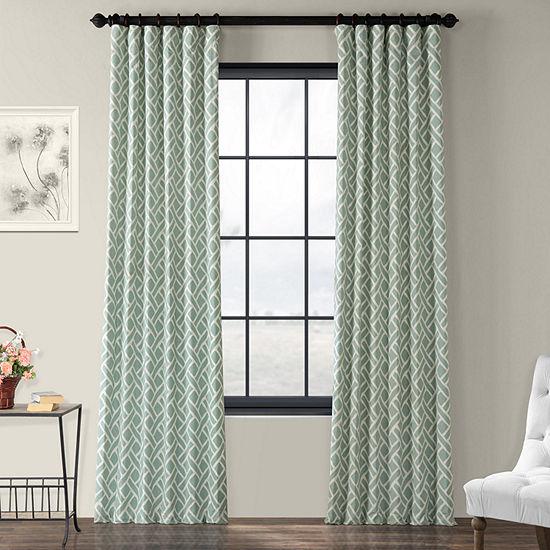 Exclusive Fabrics & Furnishing Martinique Printed Cotton Energy Saving Light-Filtering Rod-Pocket/Back-Tab Single Curtain Panel