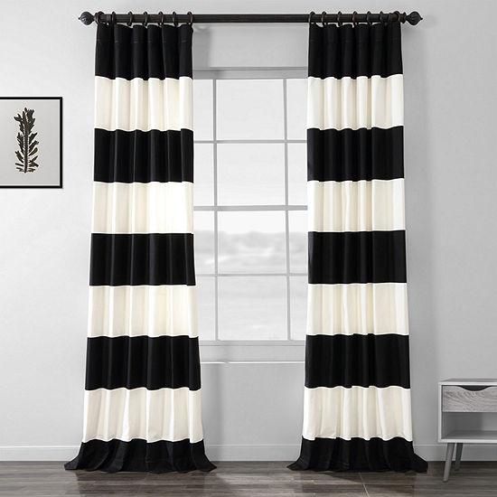 Exclusive Fabrics & Furnishing Horizontal Stripe 100% Cotton Energy Saving Light-Filtering Back-Tab Single Curtain Panel