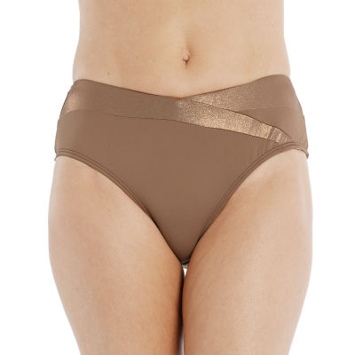 Mynah Mid Rise Womens Metallic Brief Bikini Swimsuit Bottom