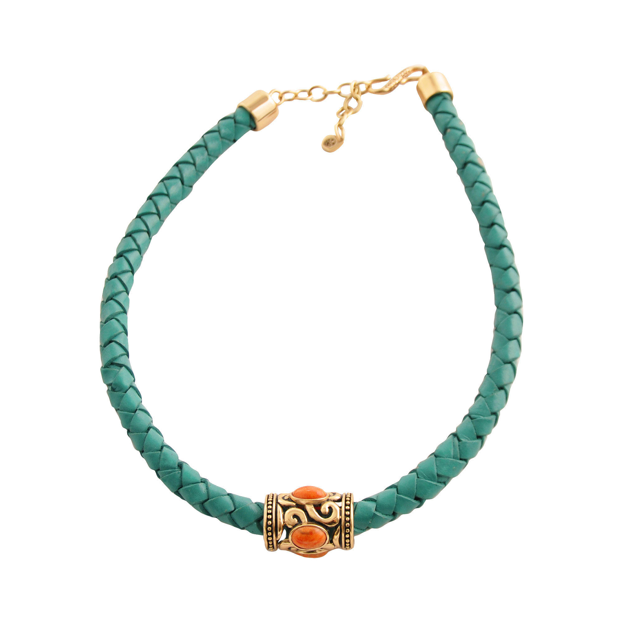 Art Smith by BARSE Coral & Aqua Leather Necklace