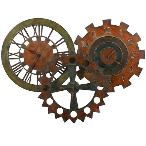 "Oversized 38.75"" Rusty Parts Wall Clock"