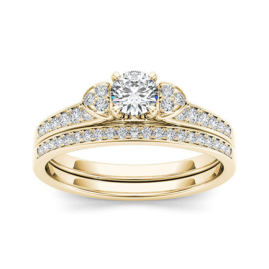 1 2 Ct Tw Diamond 10k Yellow Gold Bridal Set Ring
