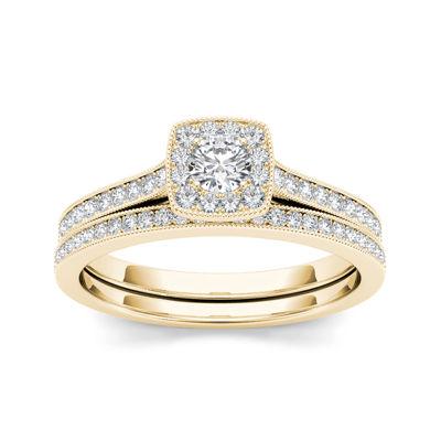 1/2 CT. T.W. Diamond 10K Yellow Gold Halo Bridal Ring Set