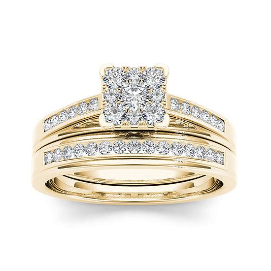 1/2 CT. T.W. Diamond Square 10K Yellow Gold Bridal Ring Set
