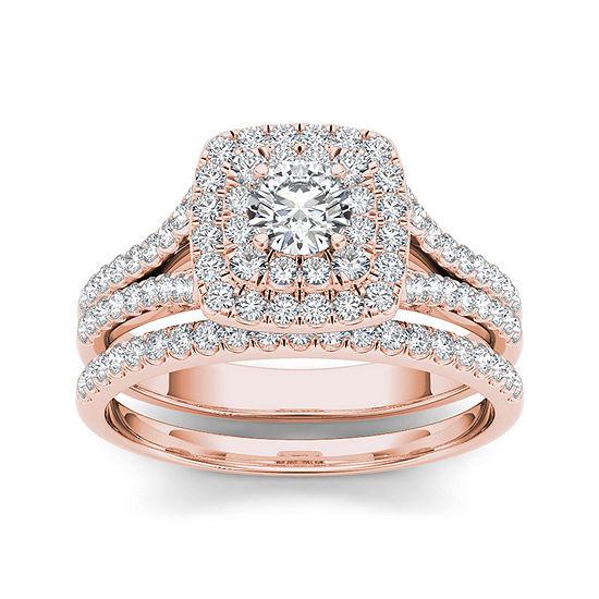 1 Ct Tw Diamond 10k Rose Gold Bridal Ring Set