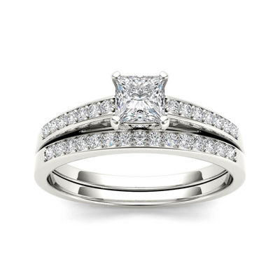 5/8 CT. T.W. Diamond 14K White Gold Bridal Ring Set