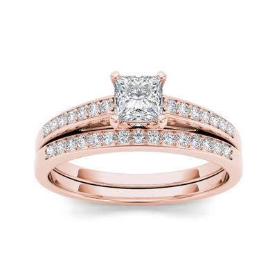 5/8 CT. T.W. Diamond 14K Rose Gold Bridal Ring Set