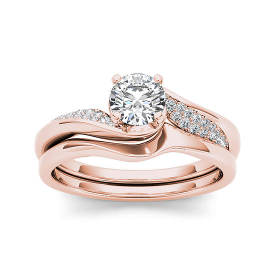 5 8 Ct T W Diamond 14k Rose Gold Bridal Ring Set Color Rose Gold Jcpenney