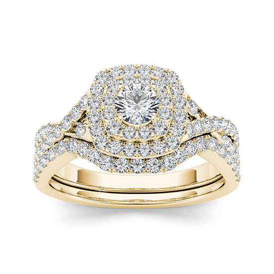 7 8 Ct Tw Diamond 10k Yellow Gold Bridal Ring Set