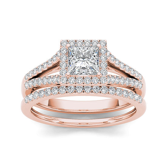 1 CT. T.W. Diamond 10K Rose Gold Bridal Ring Set
