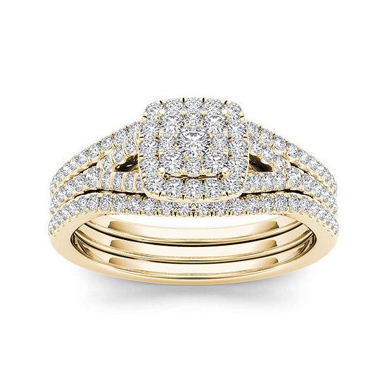 3 4 Ct Tw Diamond Cluster 10k Yellow Gold Bridal Ring Set