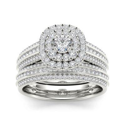 1 CT. T.W. Diamond Halo 10K White Gold Bridal Ring Set