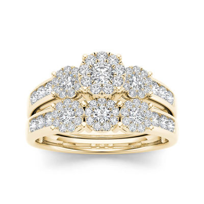 34 CT TW Diamond Cluster 10K Yellow Gold Bridal Ring Set