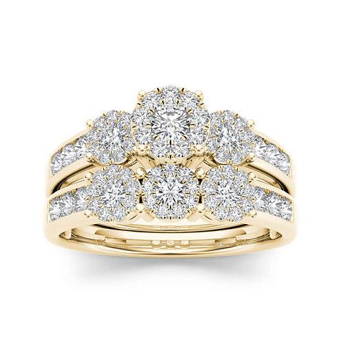 3/4 CT. T.W. Diamond Cluster 10K Yellow Gold Bridal Ring Set