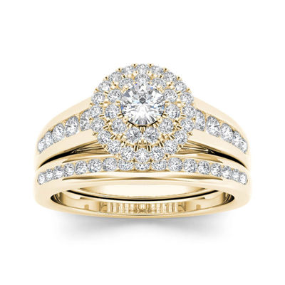 7/8 CT. T.W. Diamond 10K Yellow Gold Halo Bridal Ring Set