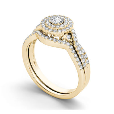 3/4 CT. T.W. Diamond Halo 14K Yellow Gold Bridal Ring Set