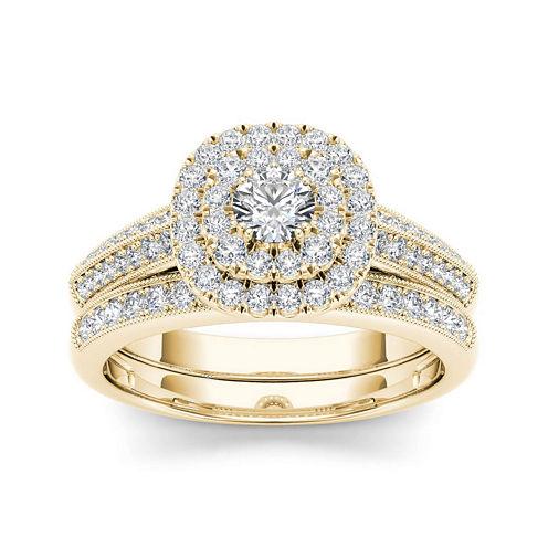 7/8 CT. T.W. Diamond 10K Yellow Gold Halo Bridal Ring Set
