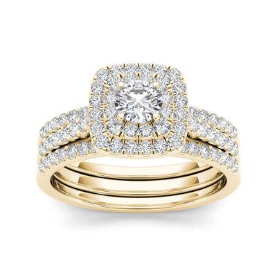 1 CT. T.W. Diamond 10K Yellow Gold Halo Bridal 3-piece Ring Set