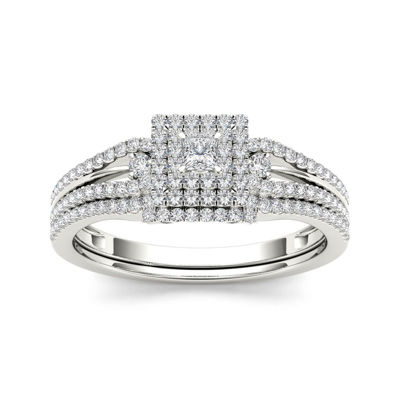 1/2 CT. T.W. Diamond 10K White Gold Bridal Set