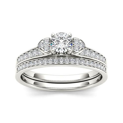 1/2 CT. T.W. Diamond 10K White Gold Bridal Set Ring