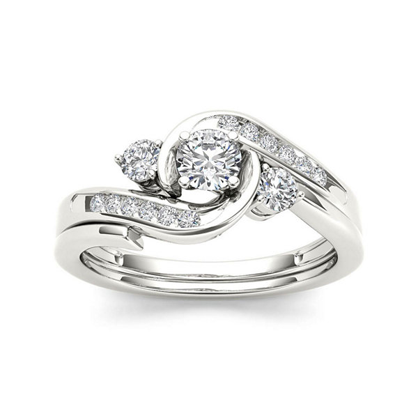 1/2 CT. T.W. Diamond 10K White Gold 3-Stone Bypass Ring Set