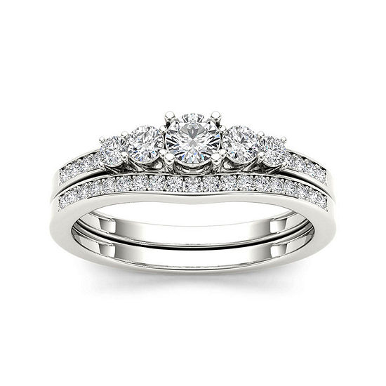 1 2 Ct Tw Diamond 14k White Gold Bridal Ring Set