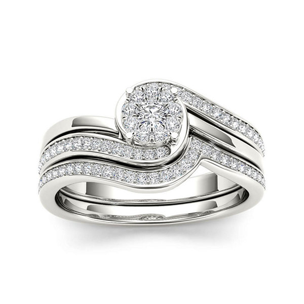 1/2 CT. T.W. Diamond 10K White Gold Swirl Bridal Ring Set